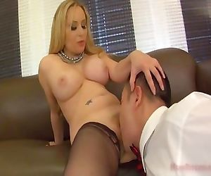 obedient sub licking her..